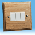 Varilight Kilnwood 3 Gang 1 or 2 Way 10A Rocker Switch Oak, White insert XK3OW